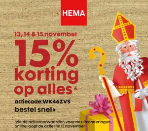 Hema 15 procent Sinterklaas korting