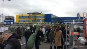 Kerstboom drukte bij IKEA