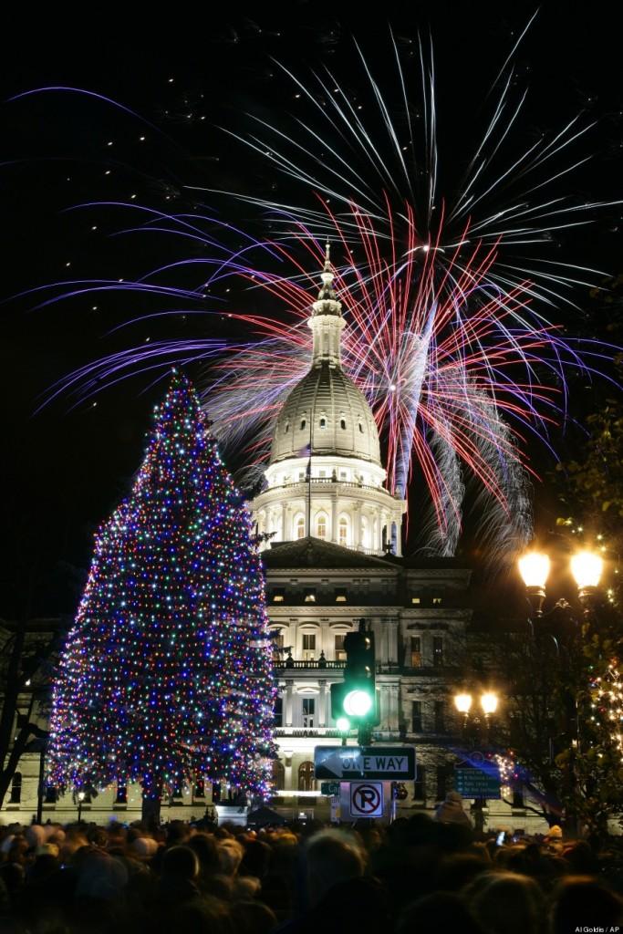 Kerstboom vuurwerk